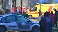 Scene of collapse in Riga