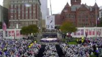 The memorial ceremony in Dealey Plaza, Dallas