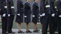 Female RAF recruits march alongside men