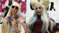 Lady Gaga with one of the dolls from the exhibition