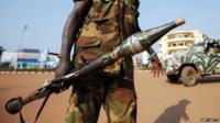 Soldier on patrol in Bangui