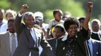 Nelson and Winnie Mandela celebrate his prison release in 1990