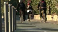 Cyclists in Seville, Spain