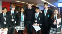 John Whaite with the School Reporters from The Compton School