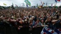 Crowds at Glastonbury Festival, Somerset