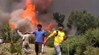 Local residents had to be evacuated from the path of fire