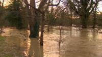 Flooded park in Leatherhead