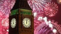 Fireworks surround Big Ben