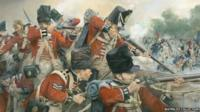Painting depicting the Battle of Waterloo