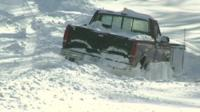 Truck trapped in snow