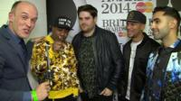 The BBC's Colin Paterson with Rudimental's Leon Rolle, Piers Agget, Kesi Dryden and Amir Amor