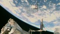 "Nasa TV image shows the Orbital Sciences Corporation""s unmanned Cygnus cargo ship being captured by the Canadarm after arriving at the International Space Station"