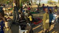 Displaced families in South Sudan