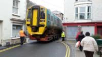 Train being taken through Barmouth