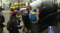 Protesters are filmed