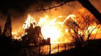 Burning buildings
