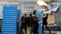 Protesters in Kiev on 20 January