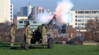 Gun salute at Nottingham castle