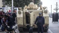 Egyptian security forces near Cairos Tahrir Square