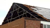 Damaged roof at Ramgarhia temple in Leicester