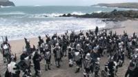 Viking squad on a Shetland beach