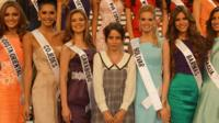 Billie JD Porter with Miss Venezuela contestants