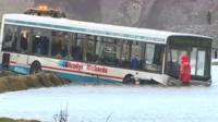 Bus crashed into lake