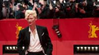 """British actress Tilda Swinton arrives for the screening of """"The Grand Budapest Hotel"""" presented in the Berlinale Competition of the 64rd Berlinale Film Festival"""