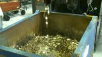 Coins being produced