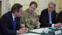 David Cameron, Maj Gen Patrick Sanders and Philip Hammond