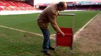 Jon Darch demonstrated new stadium safe standing seat