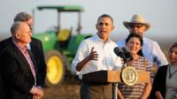 President Obama speaks to the media in Los Banos, California