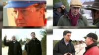 Graphic showing politicians visiting flood sites