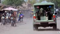 Joint Military Task Force patrolling the streets of the restive north eastern Nigerian town of Maiduguri