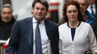 Rebekah Brooks and her husband, Charlie, arrive at court