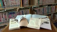 Vandalised copies of Anne Frank's Diary of a Young Girl at Shinjuku City's Chuo Library in Tokyo