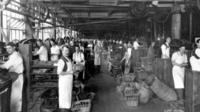 Men in Northampton shoemaking factory, early 1900s