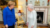 The Queen greets Angela Merkel at Buckingham Palace