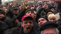 Protesters in Kharkiv