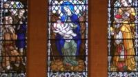 Stained glass windows at St Luke's Chapel at Leicester Royal Infirmary