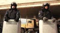 Ukrainian forces outside Donetsk government buildings