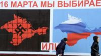 "A referendum poster in Crimea reading: ""On 16 March we will choose either... or..."""