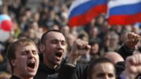 Pro- Russian rally at a central square in Donetsk