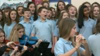 Pupils from Bryn Tirion School singing Calon Lan