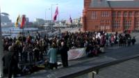 Teachers demonstrating in Cardiff Bay on Wednesday