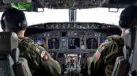 The cockpit of a search aircraft