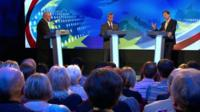 David Dimbleby, Nigel Farage and Nick Clegg