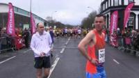 Runners at start of half marathon in Sheffield