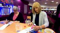 Jackie Bird plays bingo
