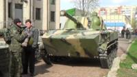 Ukrainian tank in the hands of pro-Russian activists